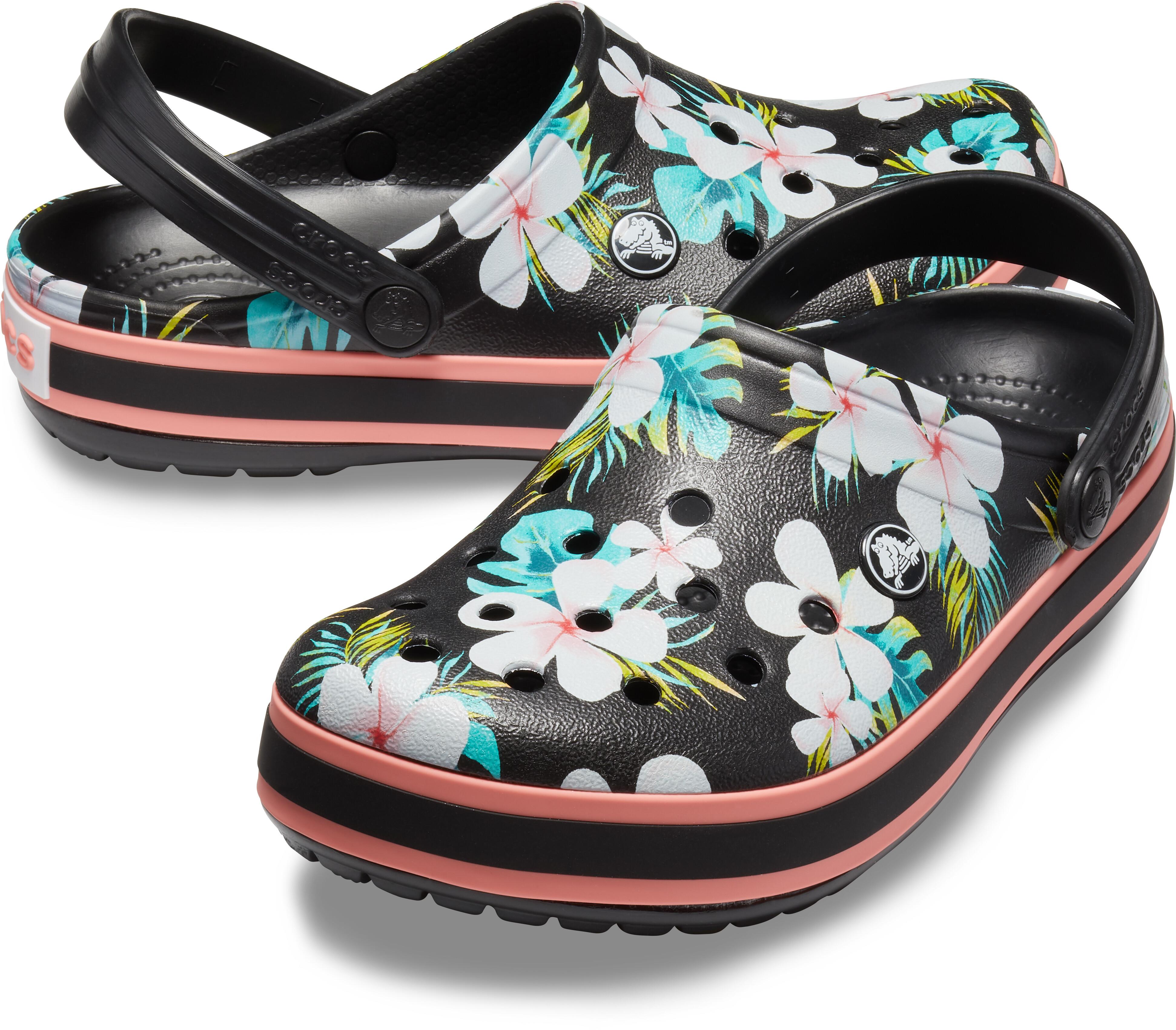 d65868970034 Crocs Crocband Seasonal Graphic Clogs Unisex Black Floral